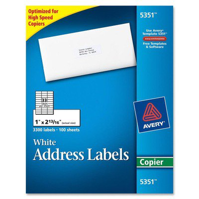 Avery White Mailing Labels AVE5351 Save time addressing repeat mailings. Create a master sheet once and make copies as needed. Bright white labels for sharper print quality are perfect for creating labels for addressing, shipping, bar coding and organizing. Letter-size sheets are optimized for high-speed copiers and feed automatically through copy machines. Permanent adhesive keeps labels secure on all mailings. Free, easy-to-use templates are available online.