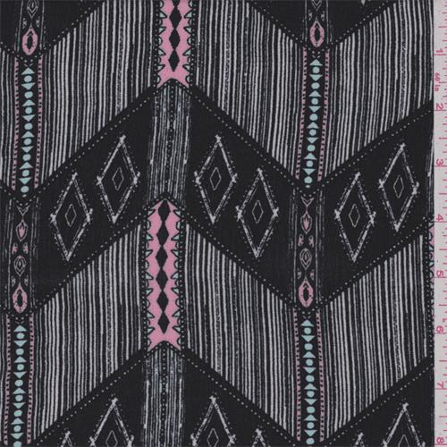 Black Chevron Stripe Crepon, Fabric By the Yard