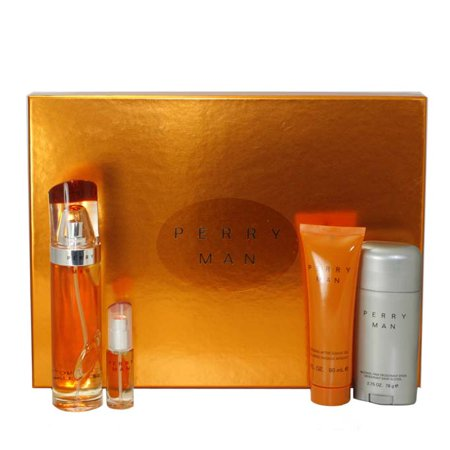 - Perry 4 Pc. Gift Set ( Eau De Toilette Spray 3.4 Oz + Soothing Aftershave Gel 3 Oz + Alcohol Free Deodorant Stick 2.75 + Eau De Toilette Spray 0.25 Oz ) for Men