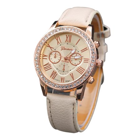 Women Fashion Three Dials Quartz Watch Luxury Diamond Leather Band Alloy Case Wrist Watches