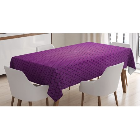 Purple Decor Tablecloth, Abstract Digital Diagonal Grid Geometric Diamond Symmetric Lines Futuristic Print, Rectangular Table Cover for Dining Room Kitchen, 60 X 90 Inches, Purple, by Ambesonne (Purple Tablecloth)