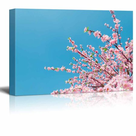 Wall26 - Canvas Prints Wall Art - Japanese Cherry Blossoms in the Clear Blue Sky | Modern Wall Decor/ Home Decoration Stretched Gallery Canvas Wrap Giclee Print. Ready to Hang - 24