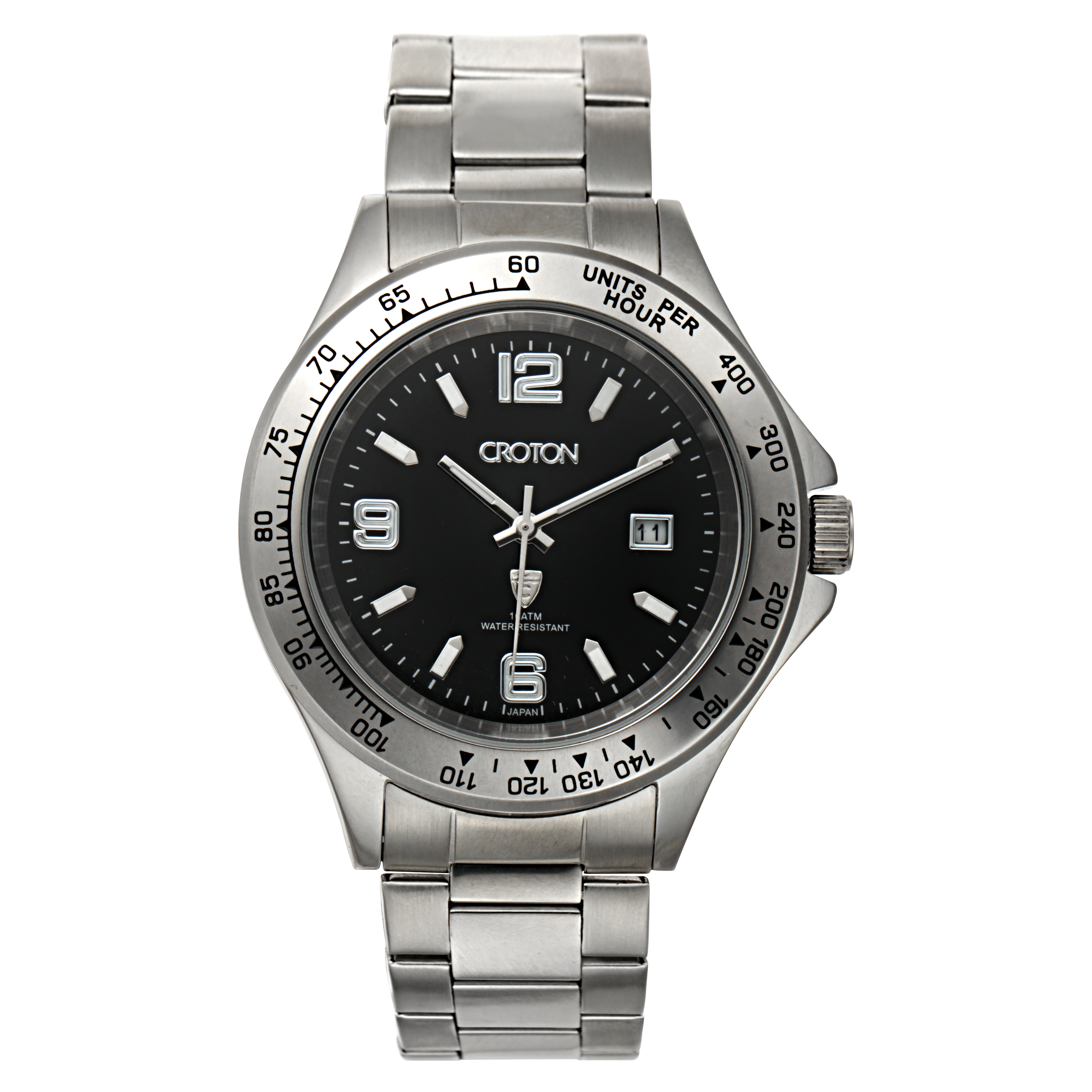 Croton Mens Stainless Steel Silvertone Tachymeter Bezel Watc
