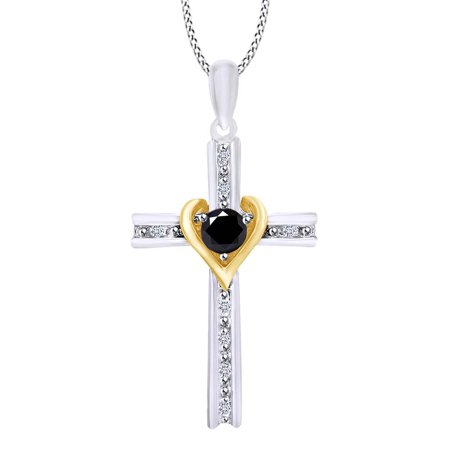 Two Tone Cross Pendant Necklace In 14k White Gold Over Sterling Silver Round Cut Simulated Black Spinel & White CZ (0.33 - Cut Peridot Cross