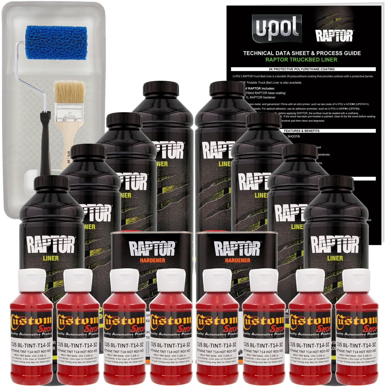 Raptor Hot Rod Red Urethane Spray-On Truck Bed Liner Roller,Tray,Brush8 Liters