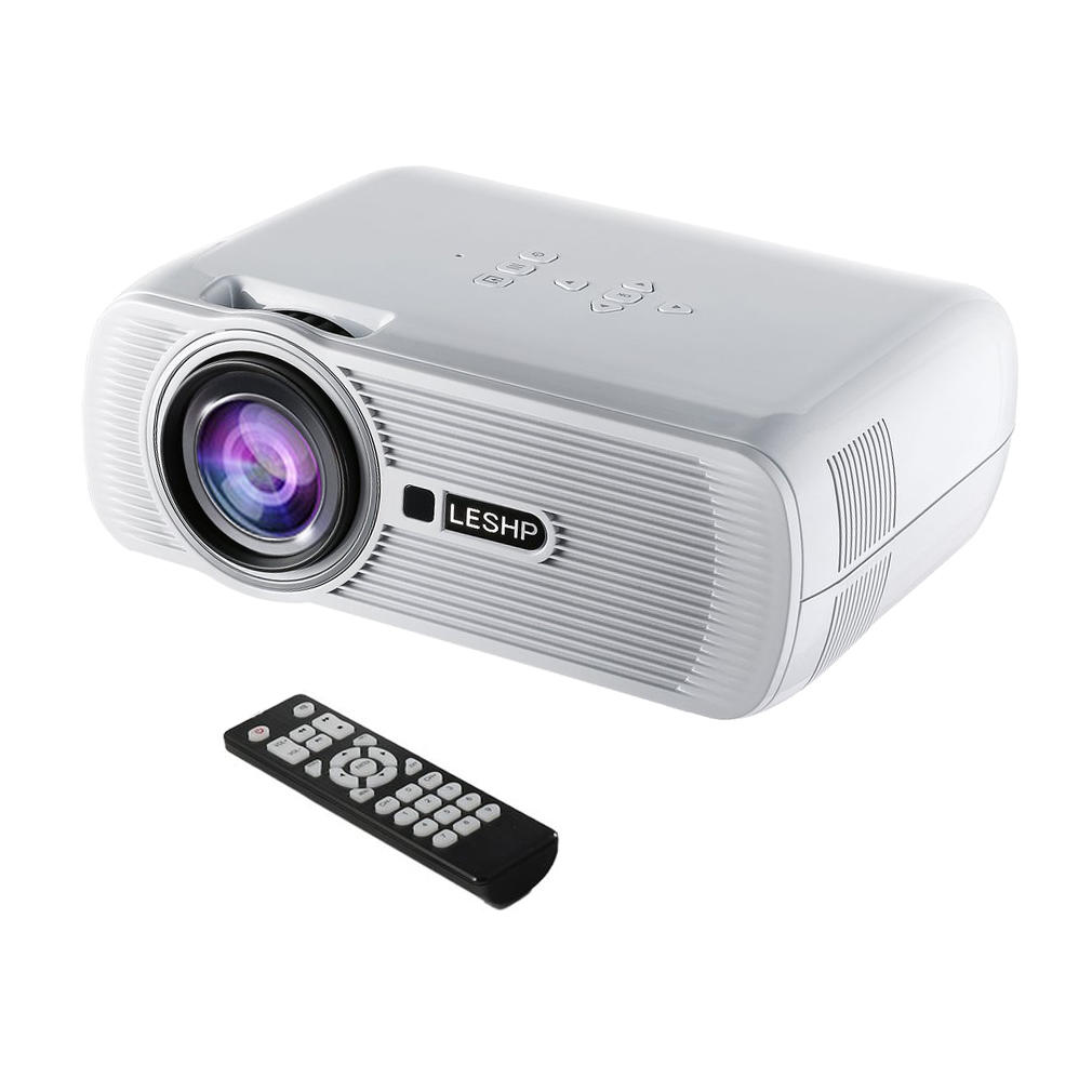LESHP Portable Multi-media LED Video Projector for movies 1080P HD 1200 LM with Keystone for Office Home Cinema Theater TV Game 1000:1 On Sale