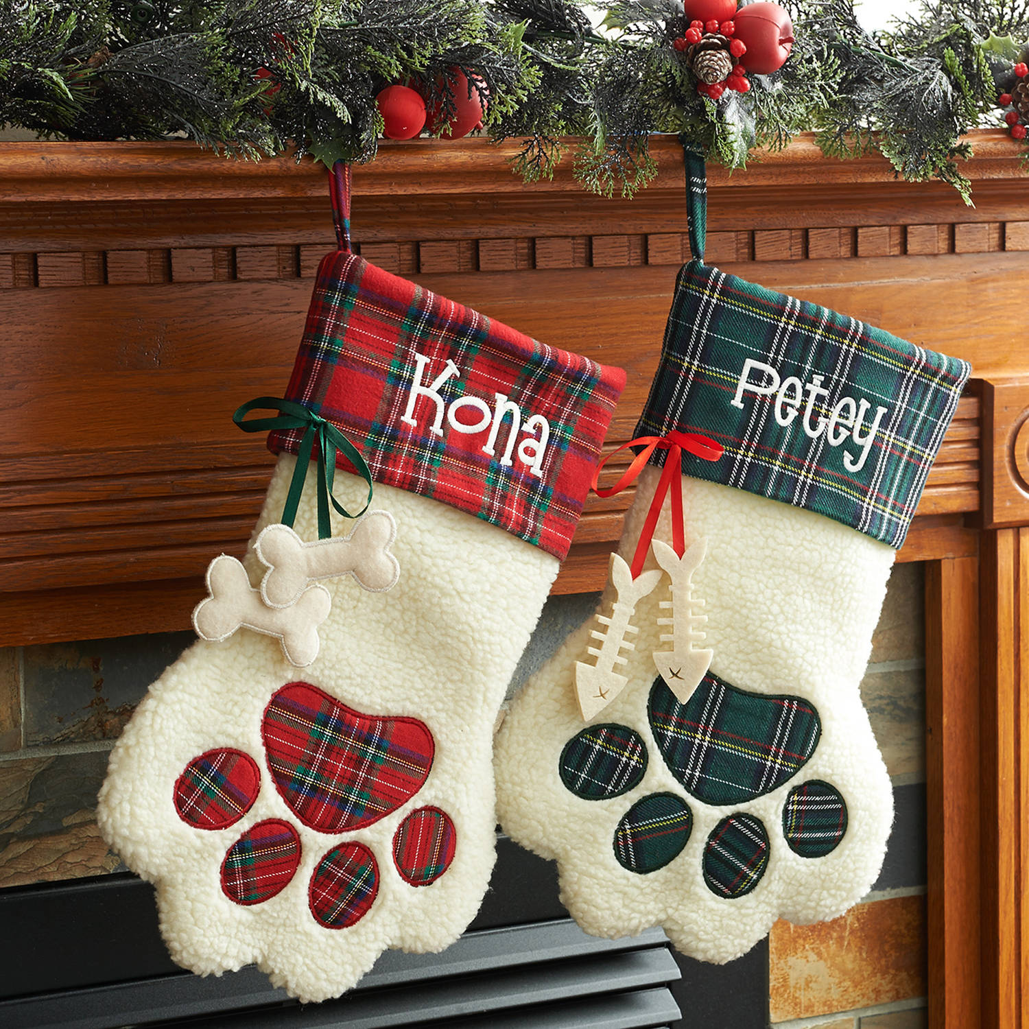 Personalized Dog Paw and Cat Paw Christmas Stockings