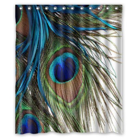 GreenDecor Peacock Waterproof Shower Curtain Set with Hooks Bathroom Accessories Size 60x72 inches](Peacock Accessories)