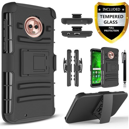 Moto G6 Case, Dual Layers [Combo Holster] And Built-In Kickstand Bundled with [Premium Screen Protector] Hybird Shockproof And Circlemalls Stylus Pen (Black) ()