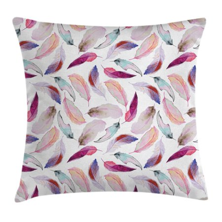 Feather House Decor Throw Pillow Cushion Cover, Mix Feather Motifs in Romantic Feminine Colors Outer Wing Covert Theme, Decorative Square Accent Pillow Case, 20 X 20 Inches, Pink Purple, by Ambesonne