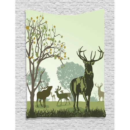 Antlers Decor Wall Hanging Tapestry, Deer And Wildlife In Park World Natural Heritage Forest Areas Reindeer, Bedroom Living Room Dorm Accessories, Gift Ideas, By - Forest Themed Room Ideas