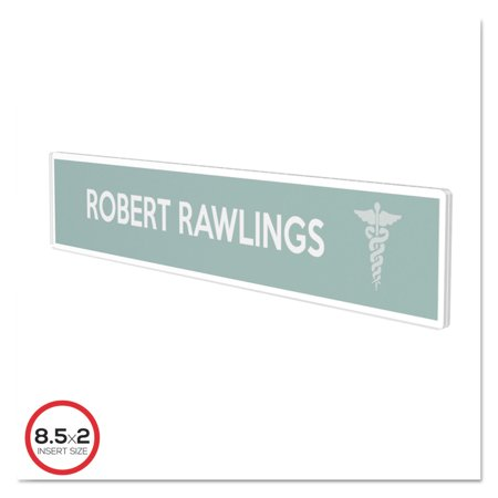 Superior Image Cubicle Nameplate Sign Holder, 8 1/2 x 2 Insert, Clear