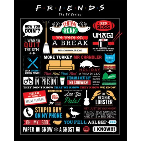 "Friends - Mini TV Show Poster / Print (Infographic - Pictograms, Logos & Quotes) (Size: 16"" x 20"")"