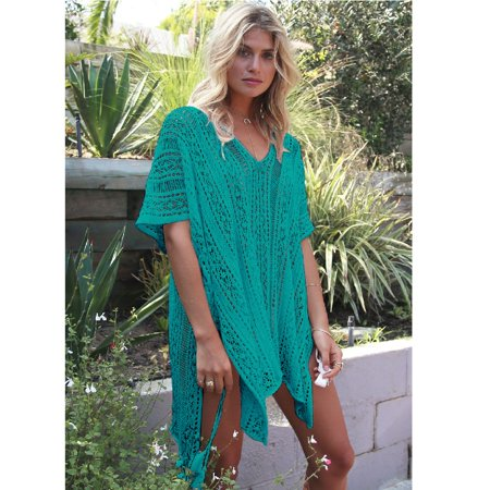 8503968f1f9b5 MySwimSource - Turquoise Bohemian Crochet Swim Cover Up Bikini Tunic Beach  Dress with Tassels - Walmart.com