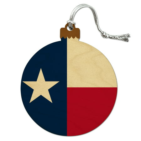 - Texas State Flag Wood Christmas Tree Holiday Ornament