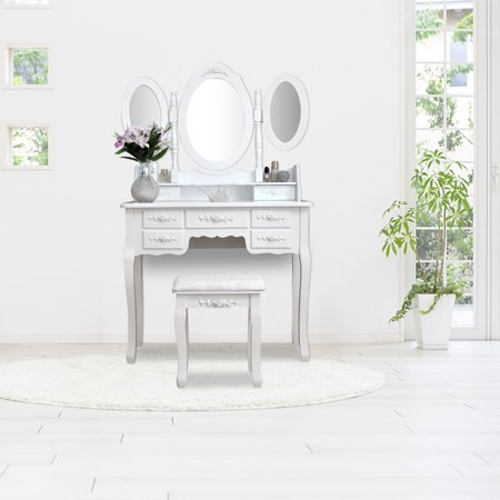 Vanity Tables for Small Spaces, Vanity Set with Cushioned Stool, Dressing Table with 4-Drawer 360-Degree Rotation Removable Mirror Dresser, Glass Vanity with Shelf and Upholstered Stool, White, S10407 ()
