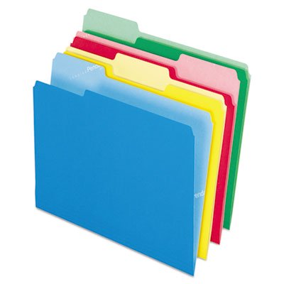 CutLess File Folders, 1/3 Cut Top Tab, Letter, Assorted, 100/Box, Sold as 1 Box, 100 Each per Box