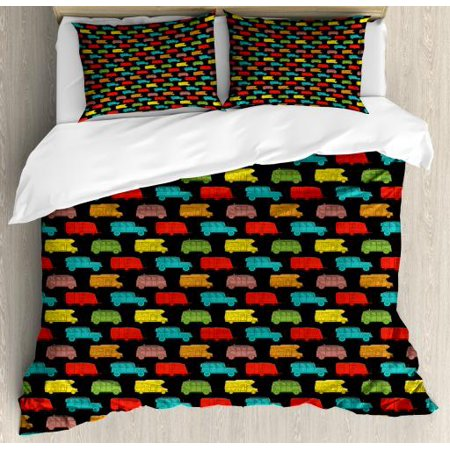 Camper King Size Duvet Cover Set, Colorful Van and Trailer on Dark Toned Background Traveling Theme Summer Vacation, Decorative 3 Piece Bedding Set with 2 Pillow Shams, Multicolor, by (Travel Trailer With King Size Bed And Bunks)