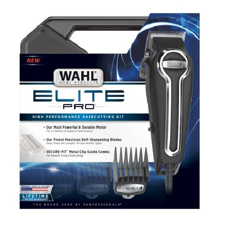 Wahl Clipper Elite Pro High Performance Haircut Kit for men with Hair Clippers, Secure fit guide combs with stainless steel clips By The Brand used by Professionals 21 pieces.