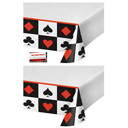 (2 Pack) Casino Poker Night Texas Hold Em Plastic Table Cover 54 X 108 Inches (Plus Party Planning Checklist by Mikes Super Store)](Jackpot Casino Parties)
