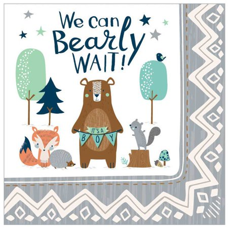 Baby Shower 'We Can Bear-ly Wait' Lunch Napkins (16ct) Baby Shower Lunch Napkins