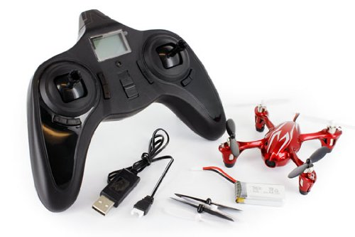 Hubsan X4 (H107C) 4 Channel 2.4GHz RC Quad Copter with Camera Red White by GlowSol