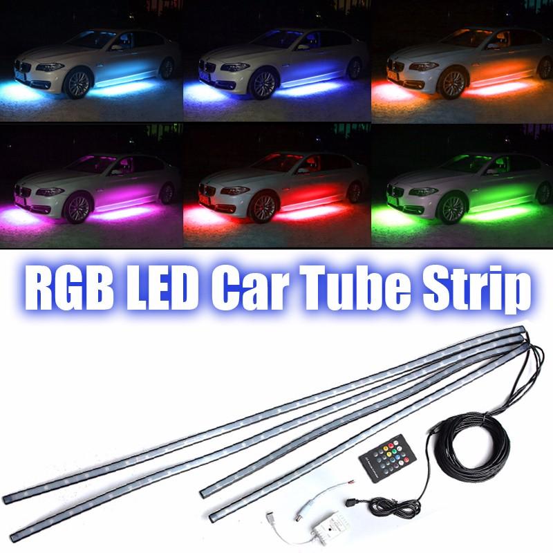 4PCS RGB LED Strip Lamp Tube Car Under glow Under body Neon Light Kit Car Atmosphere Light Neon Kit Lights