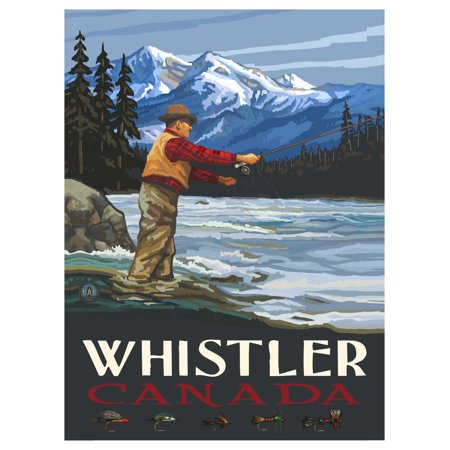 Whistler Canada Fly Fisherman Stream Mountains Travel Art Print Poster by Paul A. Lanquist (9