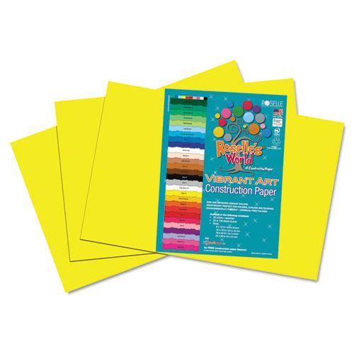 Roselle 61402 Heavyweight Construction Paper, 58 lbs., 12 x 18, Yellow, 50 Sheets/Pack