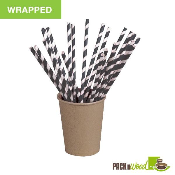 "Pack n' Wood 210CHP21BLKW, 8.3""x0.2"", Black Striped Wax Coated Paper Straws Wrapped, 500/PK"
