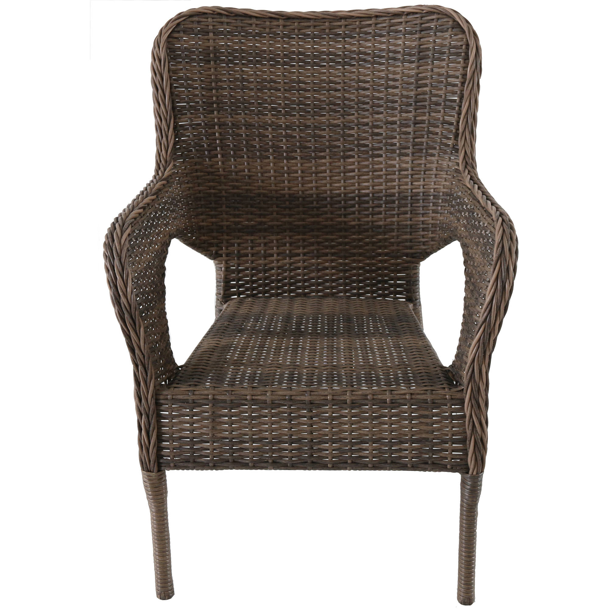 Better Homes and Gardens Camrose Farmhouse Mix and Match Stacking Wicker Chair, Brown