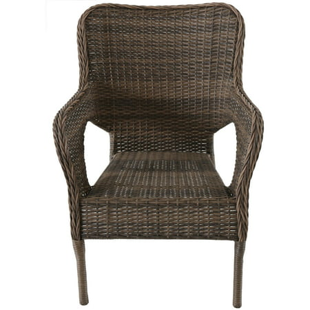 Better Homes and Gardens Camrose Farmhouse Mix and Match Stacking Wicker Chair, Brown ()