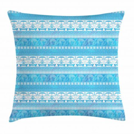 Hippie Throw Pillow Cushion Cover, 60s 70s Woodstock Theme Minivans with Peace Signs Elephants Ethnic Motifs, Decorative Square Accent Pillow Case, 18 X 18 Inches, Sky Blue and White, by Ambesonne