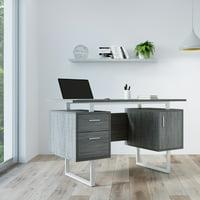 Techni Mobili Modern Office Desk with Storage, Grey