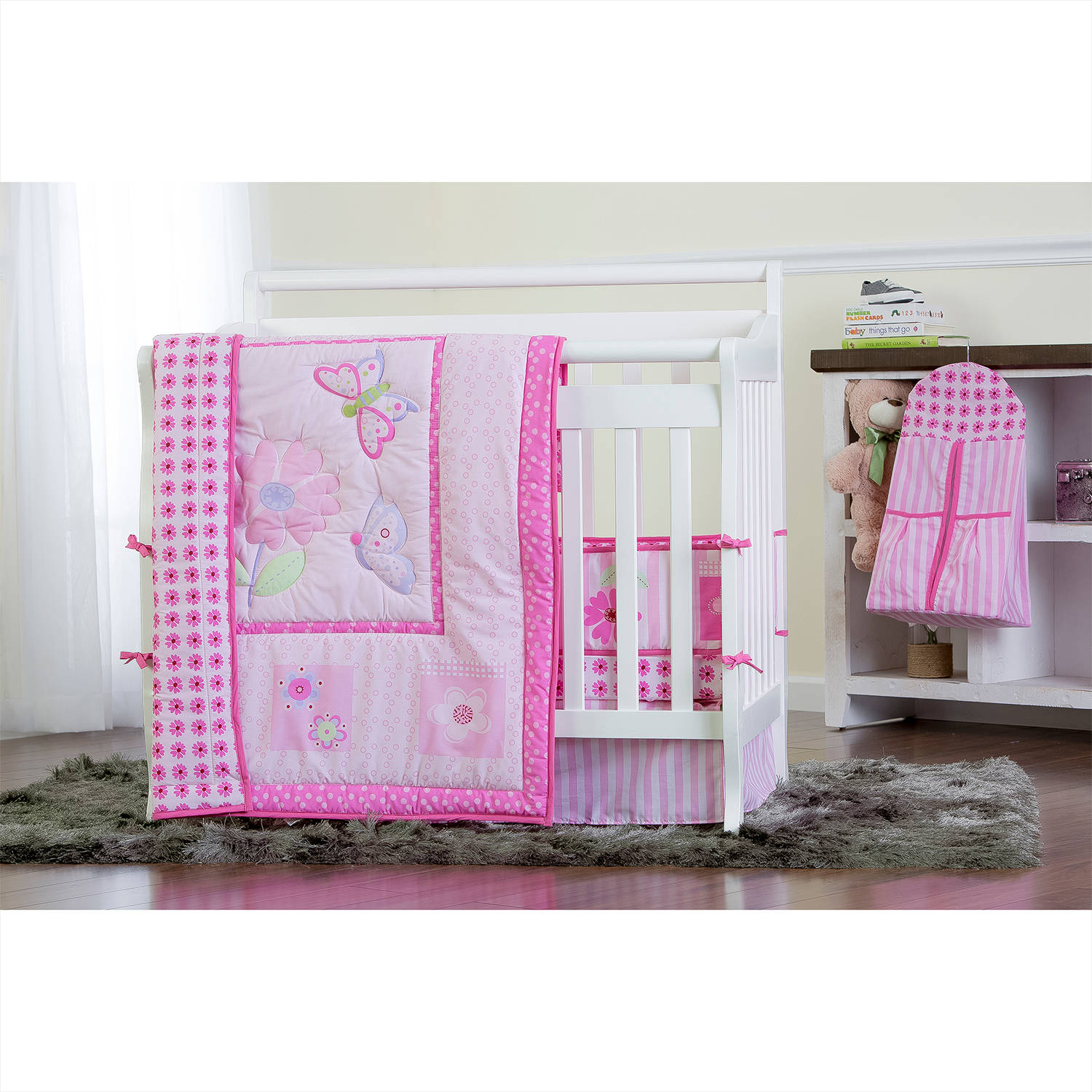 Dream On Me Pink Butterfly and Flower 4-Piece Reversible Portable Crib Bedding Set