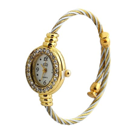Fashion Jewelry Rhinestone Cuff Bracelet Oval Face Bangle Quartz Wrist Watch