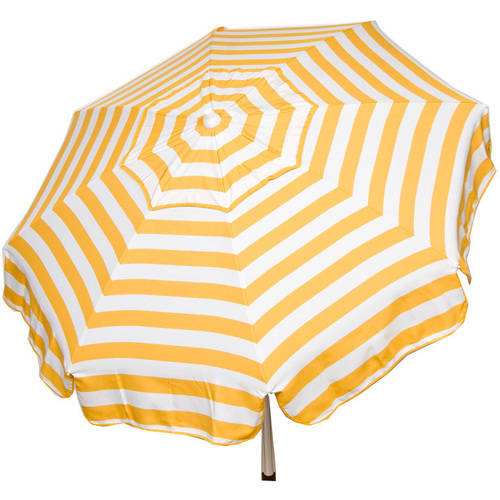 DestinationGear Italian 6' Umbrella Acrylic Stripes Yellow and White Beach Pole
