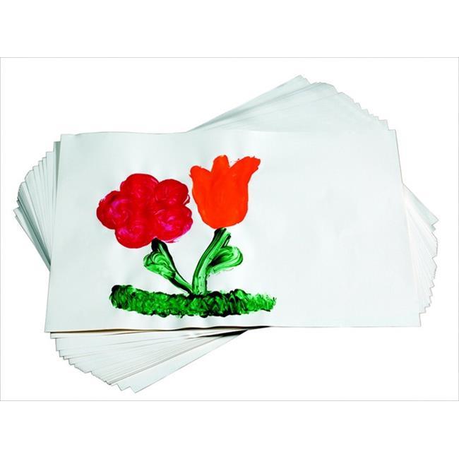 School Smart 085527 Sulphite Finger Paint Paper, Glazed White, Pack - 500