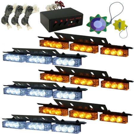 HQRP WHITE & AMBER LED Emergency Warning Strobe Lights Bars for Deck Dash Grille 6 Panels 54 LEDs 12v DC plus HQRP UV