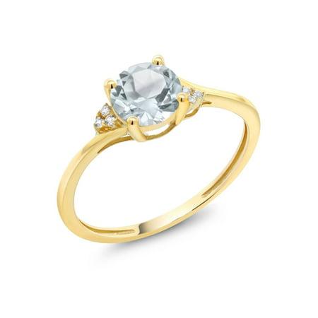 - 10K Yellow Gold Diamond Accent Engagement Ring 0.80 Ct Round Sky Blue Aquamarine