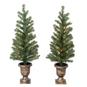 holiday time christmas decor pre lit 2 pack 35 artificial porch tree - Porch Christmas Trees