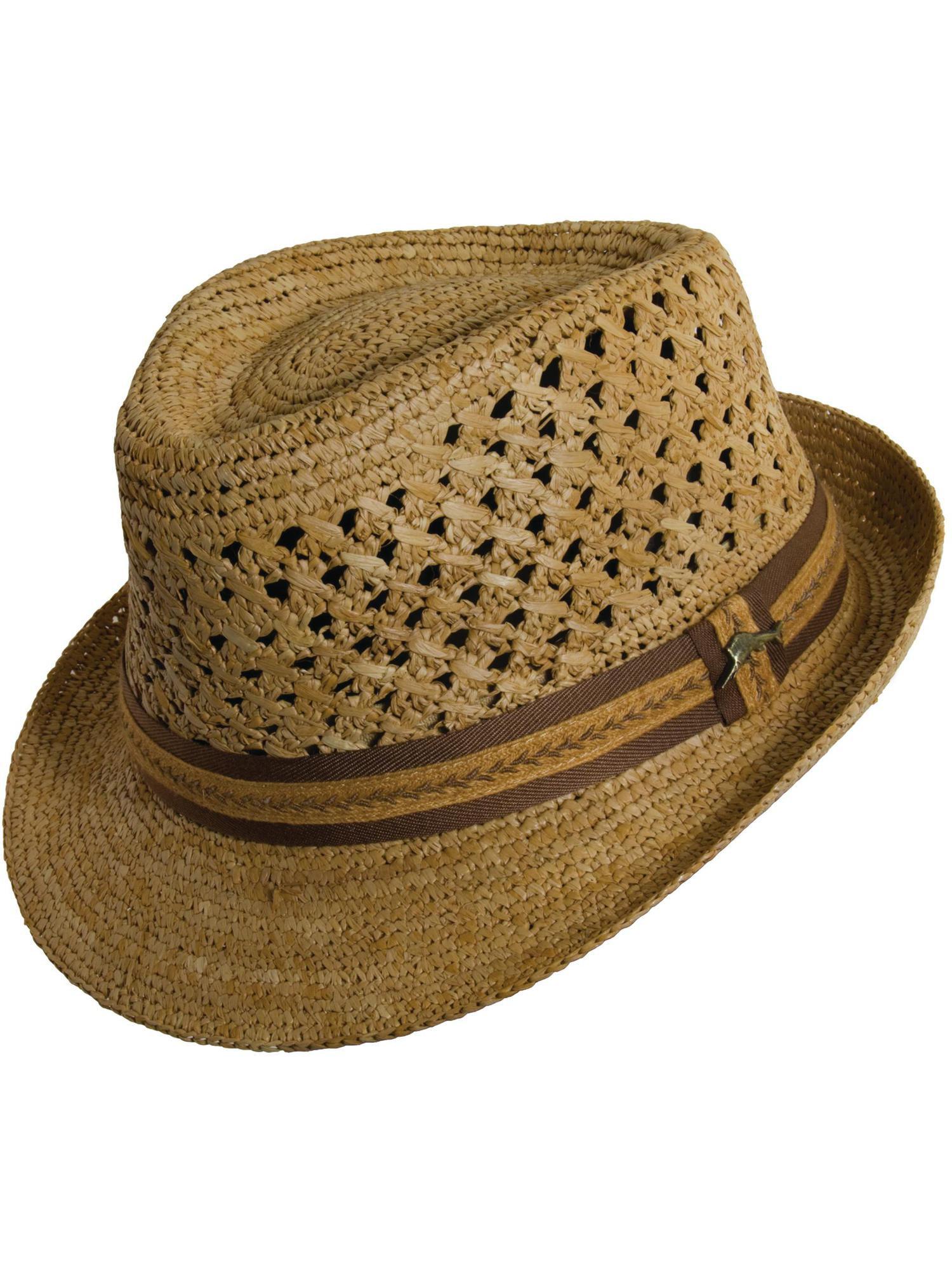 Tommy Bahama Size Small Medium Crocheted Raffia Fedora Hat, Tea by Tommy Bahama
