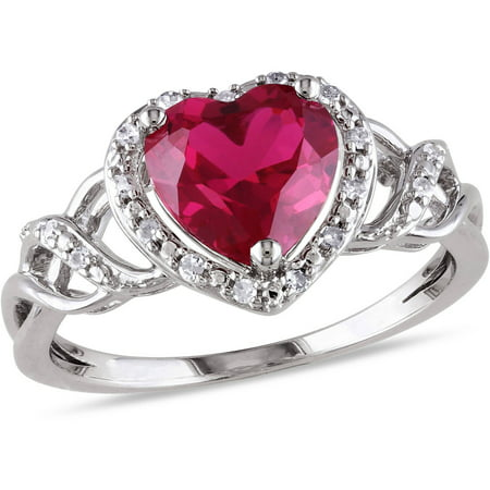 1-5/8 Carat T.G.W. Created Ruby and Diamond-Accent Sterling Silver Double Heart Ring