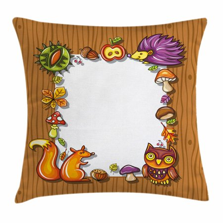 Kids Thanksgiving Throw Pillow Cushion Cover, Seasonal Frame with ...