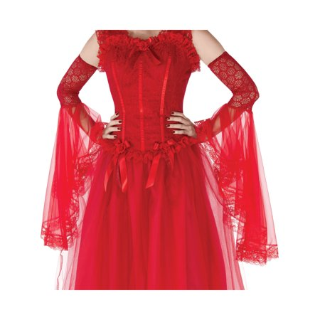Womens Victorian Era Gothic Bride Red Gauntlet Arm Sleeves Costume - Prohibition Era Costumes