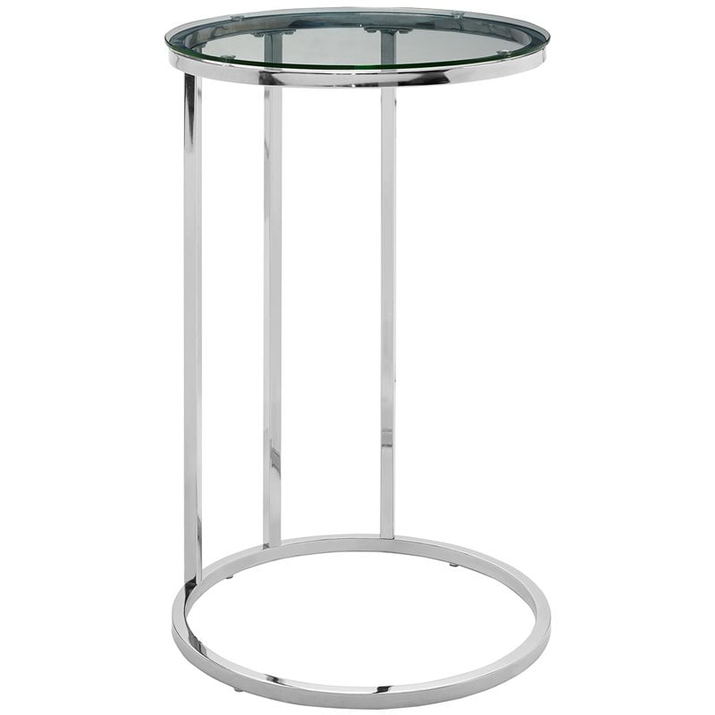 16 Inch Round C Table With Clear Glass Top And Chrome Base Walmart Com Walmart Com