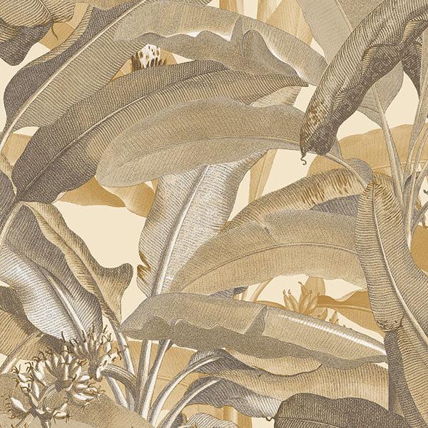 Norwall Manor House MH36537 Polynesian Leaves Wallpaper Ochre