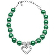 Heart and Pearl Necklace Emerald Green Sm (6-8)