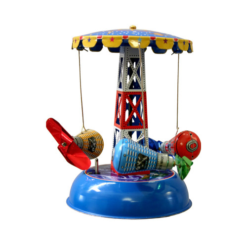 Alexander Taron Collectible Decorative Tin Toy Carousel with Space Capsules