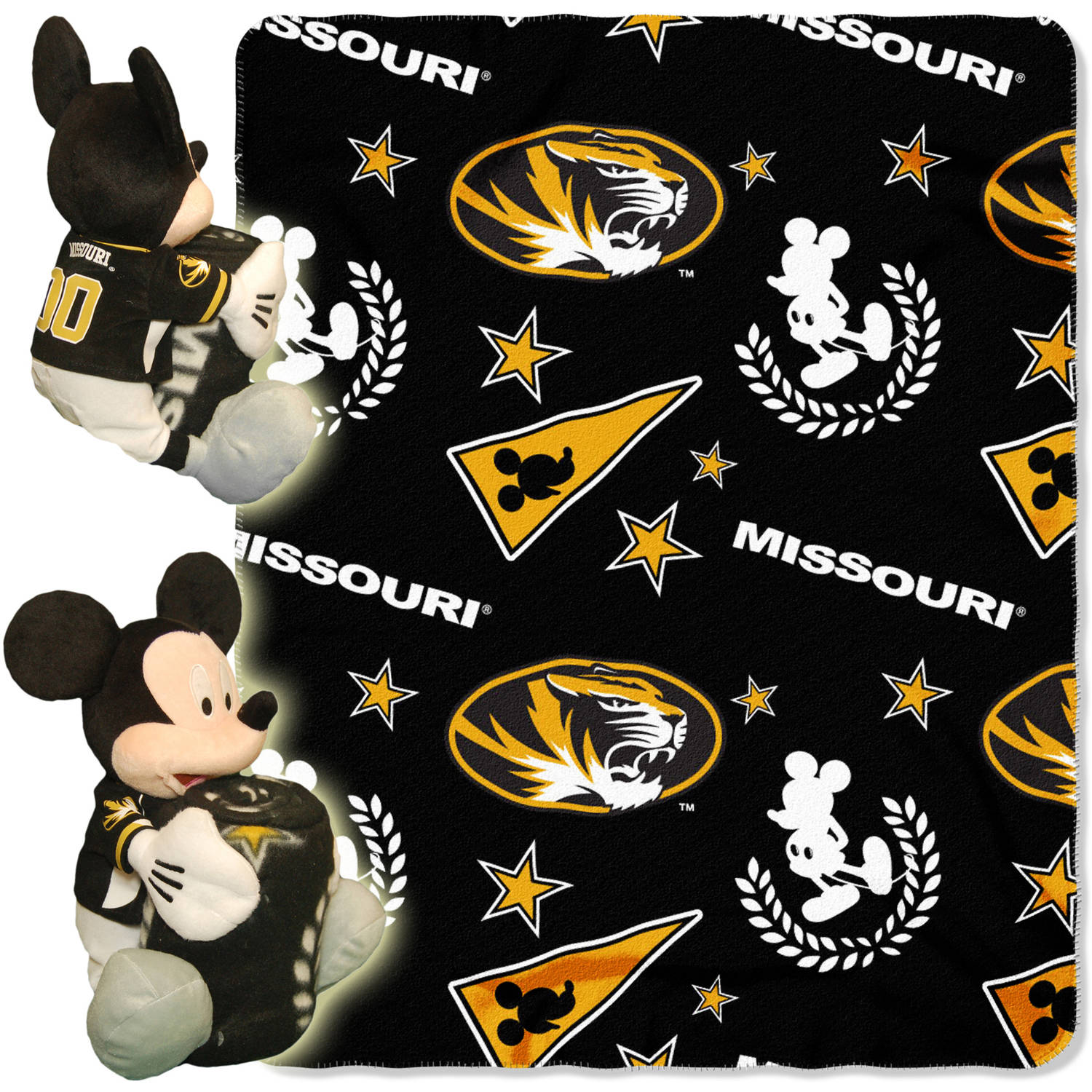 "Disney NCAA Missouri Tigers Hugger Pillow and 40"" x 50"" Throw Set"